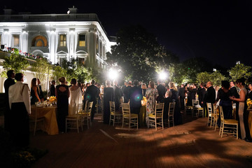 Guests attend a state dinner hosted by U.S. President Donald Trump for  Australia's Prime Minister Scott Morrison in the Rose Garden of the White House in Washington