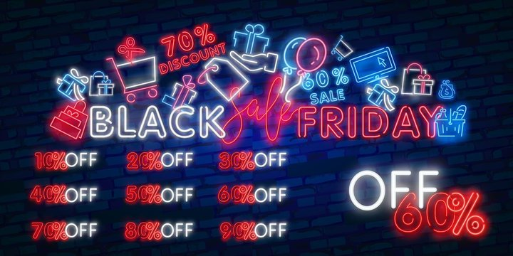 Vector set of realistic isolated neon sign of Black Friday Sale Percent logo for template decoration on dark background. Concept of special offer and e-commerce.