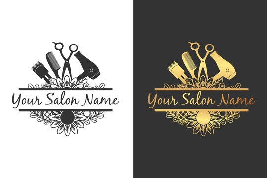 split salon tool with flower for salon logo or sign