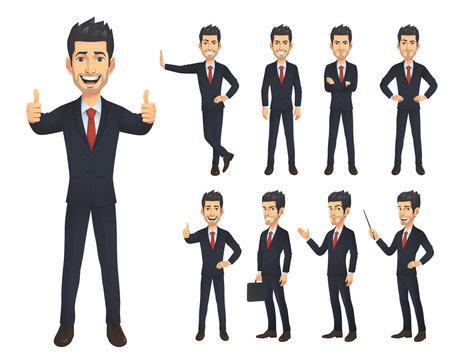 Businessman Cartoon Charater Set