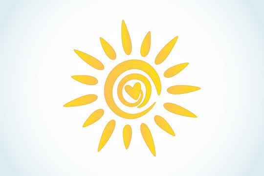 Sun love heart logo icon web image vector