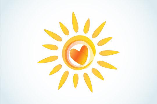 Sun with heart logo icon web image vector image
