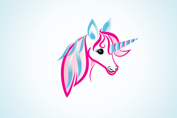 Unicorn horse fantasy girly logo vector image