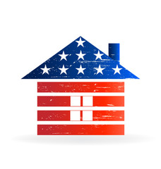 Grunge American house USA flag logo vector