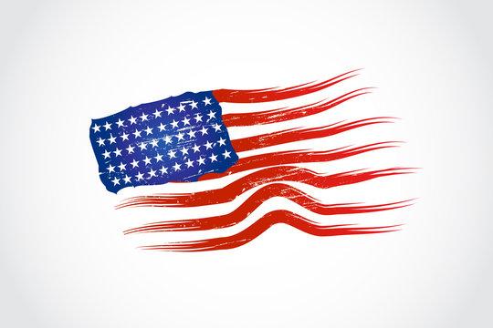 Grunge USA flag logo vector