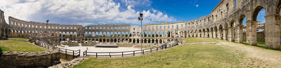 Panorama of the amphitheater in the city of Pula. Not visible small area of the eastern part of the wall