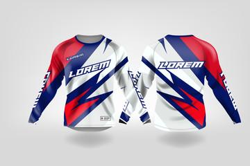 T Shirt Sport Design Template Long Sleeve Soccer Jersey Mockup For Football Club Uniform Front And Back View Motocross Jersey Mtb Jersey Wall Mural Kareemhoppus
