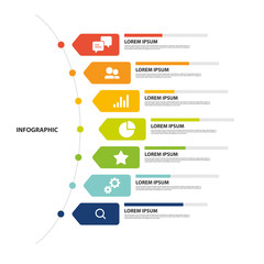 Infographic design with 7 step, Infographic business concept, Flow, Chart, Presentation