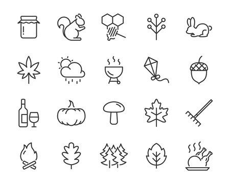 set of autumn icons, season, leaf, fall