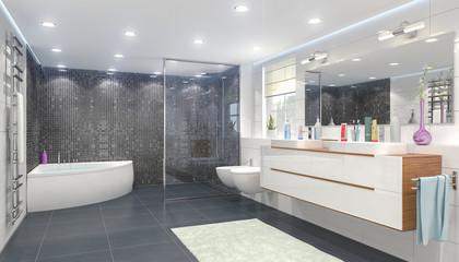 3d Illustration - Modernes Badezimmer mit einem Whirlpool, einer großen Dusche, zwei Waschbecken, einem großen Spiegel, einem Bidet und WC