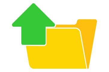 upload folder icon, flat illustration of upload folder, vector icon for web.