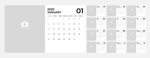 Modern Calendar for 2020 template.