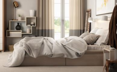 Modern Bedroom Arrangement (detail) - 3d visualization