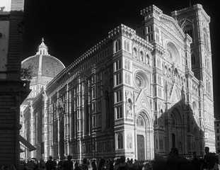Wall Mural - Amazing Black & White domed cathedral of Florence, Firenze Italy: Santa Maria del Fiore, known as The Duomo