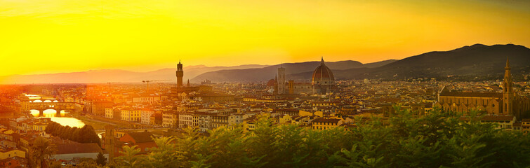Fototapeten Florenz Beautiful Panorama of Florence, Firenze in Italy, the Tuscany city of Renaissance, Medieval History, Art and Discovery.
