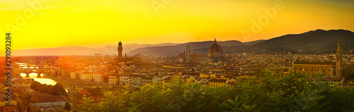 Wall mural Beautiful Panorama of Florence, Firenze in Italy, the Tuscany city of Renaissance, Medieval History, Art and Discovery.