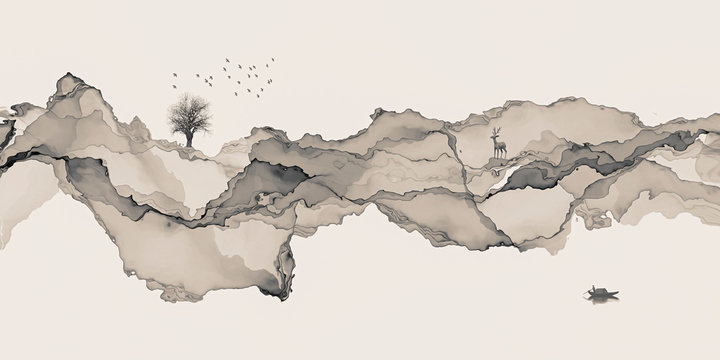 Abstract background ink line decoration painting landscape artistic conception