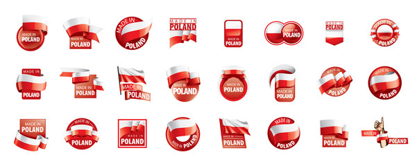 Poland flag, vector illustration on a white background Wall mural