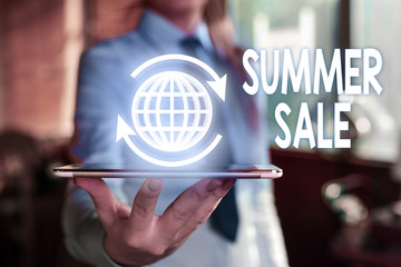 Word writing text Summer Sale. Business photo showcasing Annual discount events that takes place during summer season