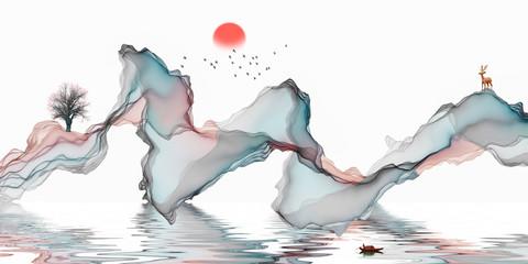 Printed kitchen splashbacks Fairytale World Abstract background ink line decoration painting landscape artistic conception