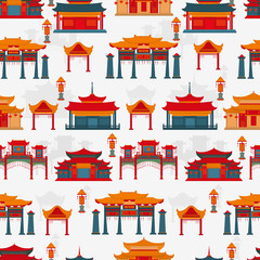 Seamless vector pattern to traditional Chinese buildings and temples on a white background.