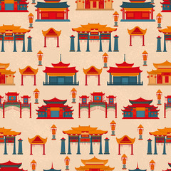 Seamless vector pattern to traditional Chinese buildings and temples on a light background.
