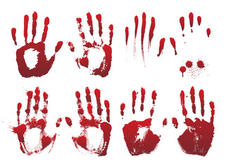 Set of bloody red horror hand prints. Design elements for Halloween decoration.