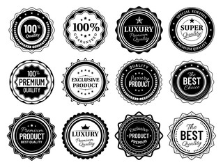 Premium quality badges. Best choise emblem, vintage labels and retro stencil badge. Product quality warranty sale sticker, luxury approval stamp tag. Isolated vector symbols bundle