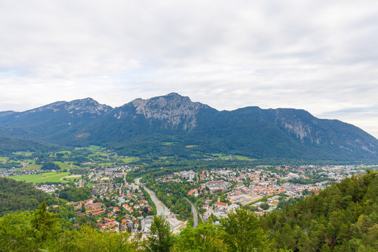 City Bad Reichenhall with mountain Hochstaufen and Zwiesel in background