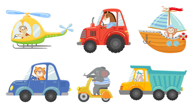 Cute animal drivers. Animal driving car, tractor and truck. Toy helicopter, sailboat and urban scooter. Driver and pilot, animals on street vehicle. Cartoon isolated vector illustration icons set