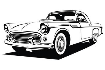 Fototapeta Classic vector retro vintage custom car design obraz