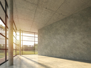 The interior space in the modern loft building with polished concrete 3d render, with large windows looking out over the nature,sunight shining into the room.