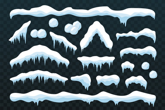 Snow ice icicle set Winter design. White blue snow template. Snowy frame decoration isolated blue transparent background. 3D realistic cap. Christmas, New Year frozen ice texture. Vector illustration