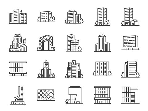 Building line icon set. Included icons as city  scape, architecture,dwelling, Skyscraper, structure and more.