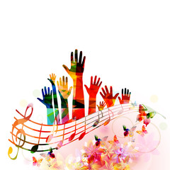 Colorful music background with human hands raised and music notes isolated vector illustration design. Artistic music festival poster, live concert events, party flyer, music notes signs and symbols