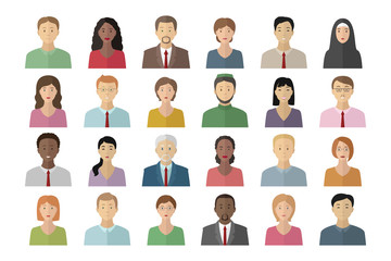 Man and woman avatar pictures. Icon set. Vector.
