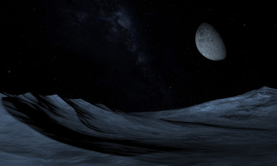 Alien Planet - 3D Rendered Computer Artwork. Rocks and moon.