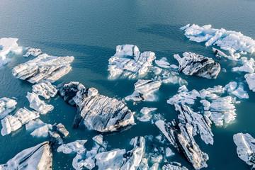 Wall Mural - Aerial view of Jokulsarlon glacier ice lagoon, Iceland