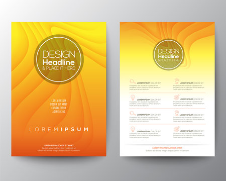 Yellow flyer design template. Minimal abstract curved wave shape on yellow gradient color background. A4 size
