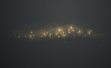 Golden shining sparks dust with stars on dark transparent background. Christmas light glowing particles.