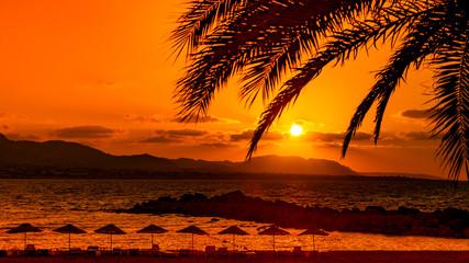 Famous Camelot Beach on Cyprus. Beautiful sunset background. Sundown. Seascape.