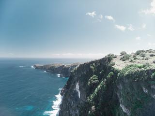 Obraz Aerial view of seascape on Kelingking beach, Karang Dawa bay, Nusa Penida Island, Indonesia. - fototapety do salonu