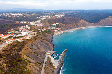 Aerial from the village Arifana at the westcoast in Portugal