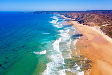 Aerial from the beach at Praia Vale Figueiras in Portugal