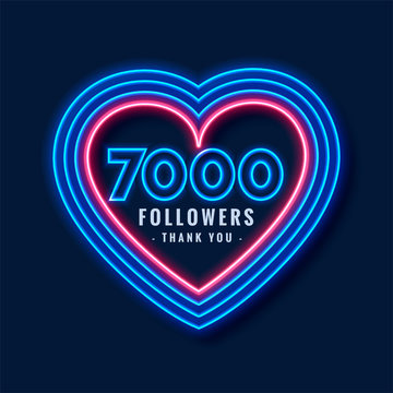 7000 followers thank you background in neon heart style
