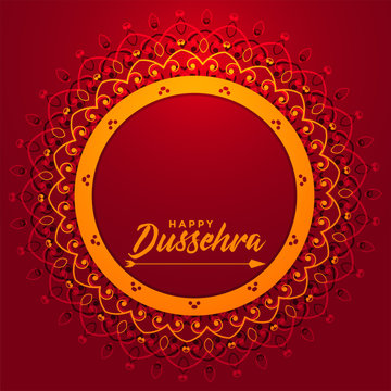 artistic happy dussehra festival card with text space