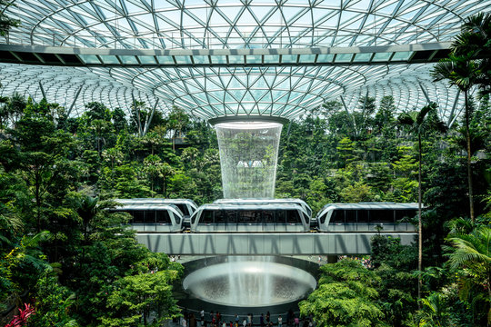 Singapore, Aug 4, 2019 - Jewel Changi Airport is development to the world's best airport and destination, It has a 40m waterfall inside the building, The Rain Vortex located inside and shopping mall