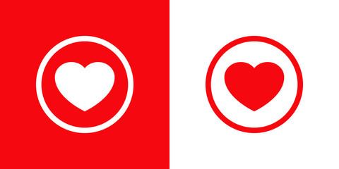 Logotipo con corazón en circunferencia lineal en rojo y blanco