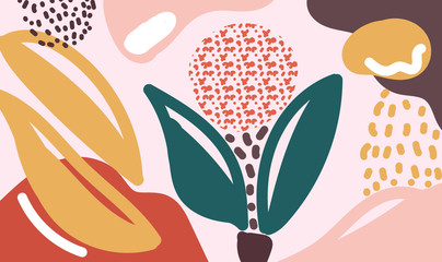 Modern organic shapes floral vector background. Abstract illustration wallpaper for template website,banner social media advertising. simple art style. sweet flower concept.