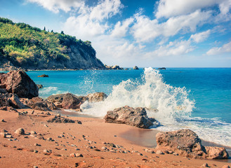 Attractive spring view of Avali Beach. Sunny morning seascape of Ionian sea. Beautiful outdoor scene of Lefkada Island, Greece, Europe. Beauty of nature concept background.